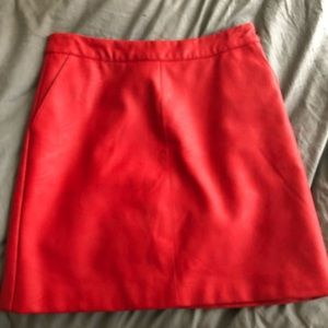 Topshop red faux leather mini skirt